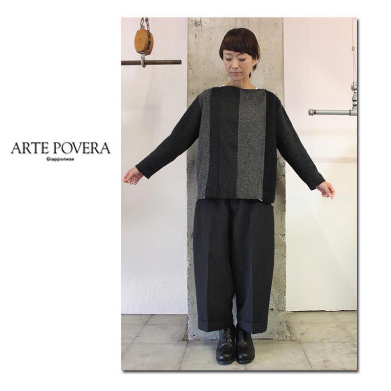 ARTE POVERA アルテポーヴェラ WOOL MIXボートネック #ブラックMIX【送料無料】