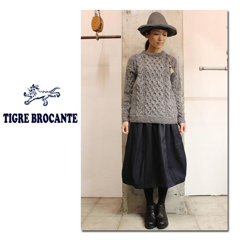 **再入荷**Tigre Brocante ティグルブロカンテ リメイクストライプコンビナーバルーンスカート #ネイビー【送料無料】