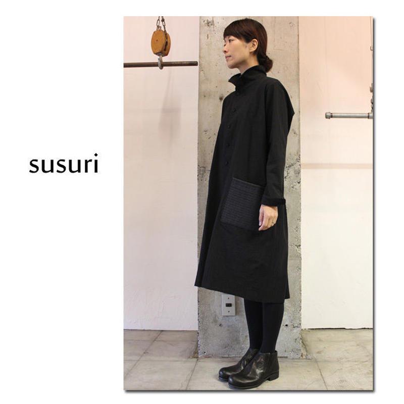 susuri ススリ マザーズロングシャツ #ブラック【送料無料】