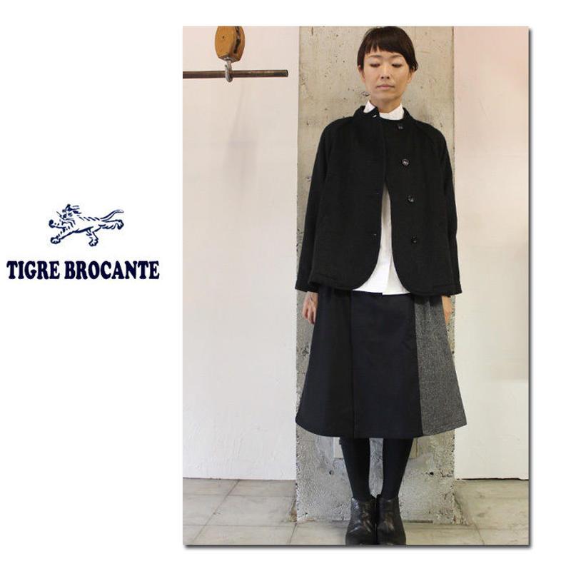 Tigre Brocante ティグルブロカンテ フラノMIXダブルタックスカート #ブラックベース【送料無料】