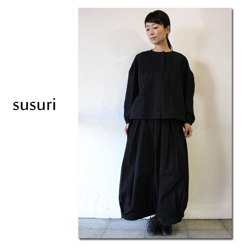 **再入荷**susuri ススリ ドミトリーブラウス #ブラック 【送料無料】