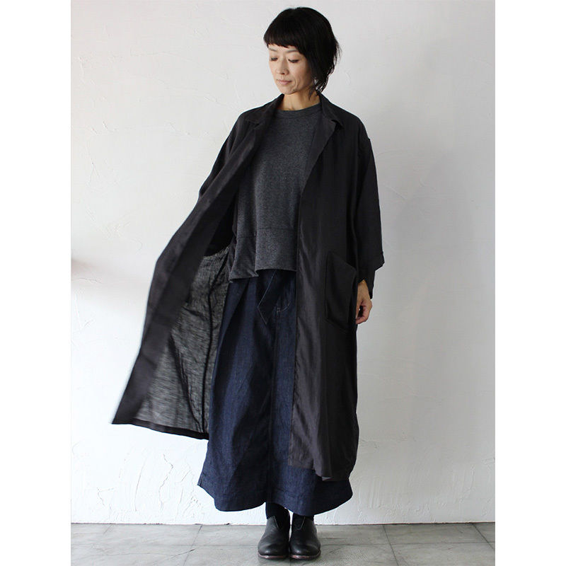 ARTE POVERA リネン製品染めガウンコート ♯グレー、ブラック 【送料無料】