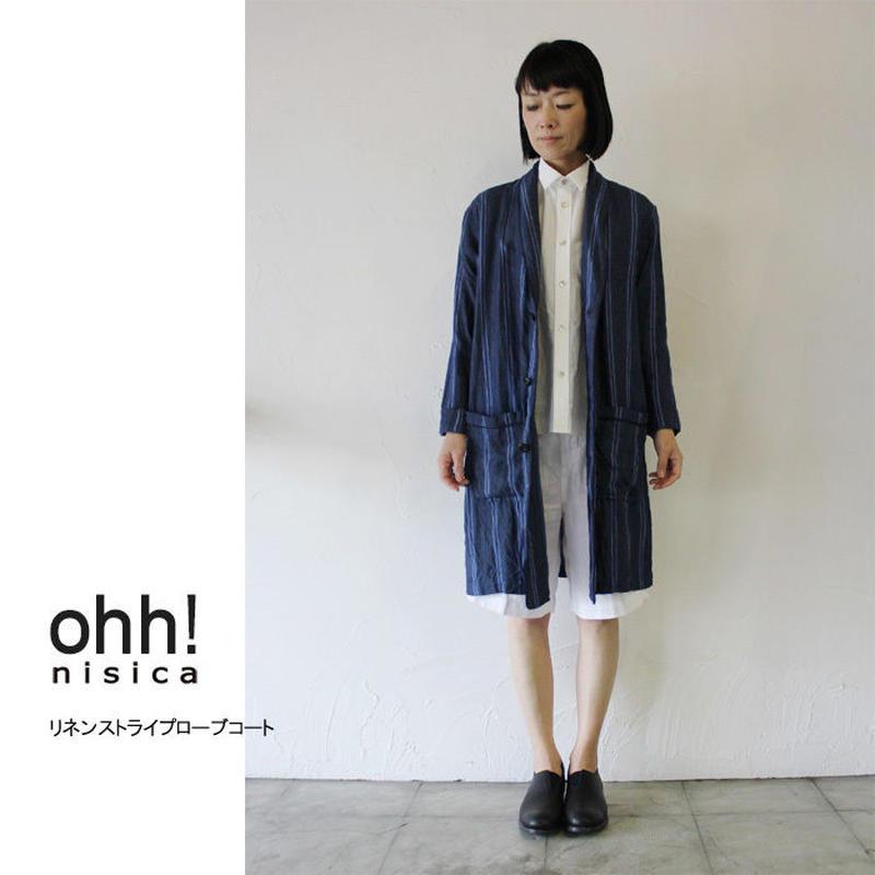 ohh!nisica オオニシカ リネンストライプローブコート ♯ブルー、生成り【送料無料】