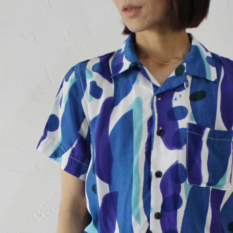 Tigre Brocante ティグルブロカンテ ナタマメ注染レーヨンBOX半袖シャツ ♯パープル【送料無料】