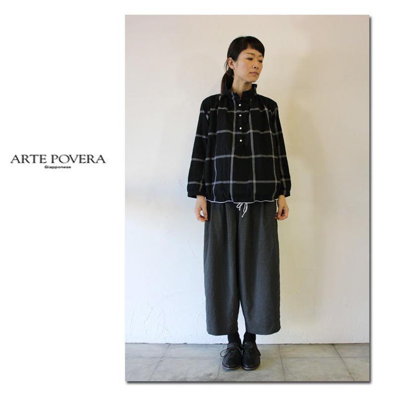 ARTE POVERA アルテポーヴェラ モール糸MIXワイドチェックバルーンプルシャツ #ブラック【送料無料】