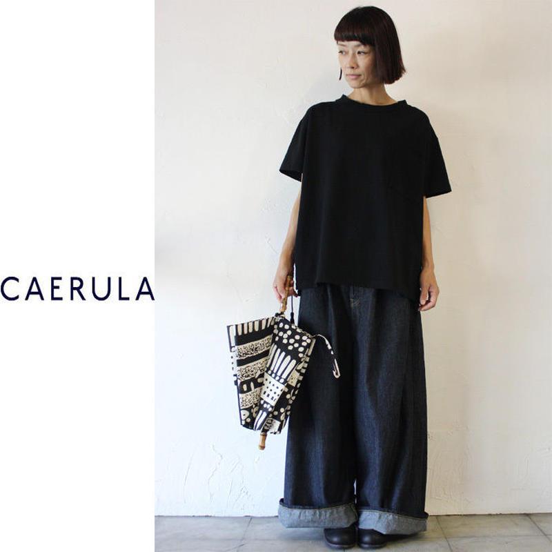 CAERULA カエルラ 丸胴天竺ポケットTシャツ ♯ブラック