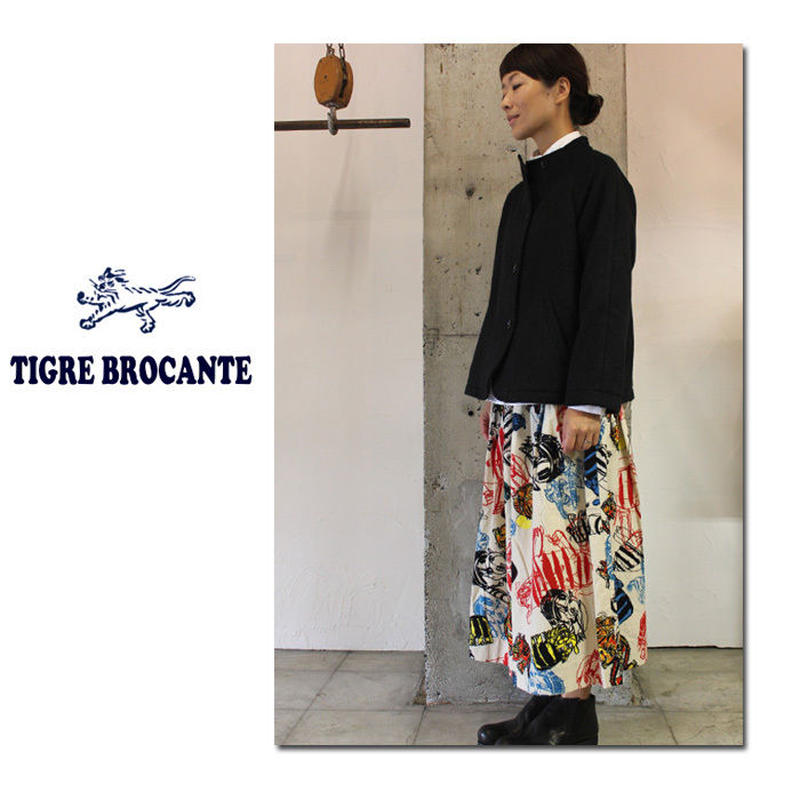 Tigre Brocante ティグルブロカンテ トラトラトラネルポケットフィセルスカート #ナチュラル、ブルー【送料無料】