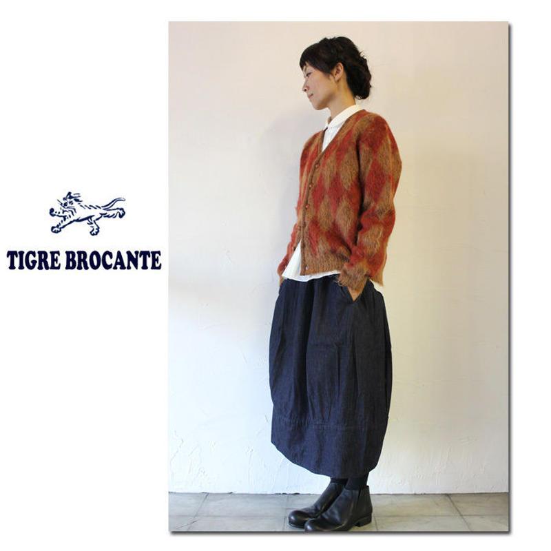 **再入荷**Tigre Brocante ティグルブロカンテ ダイヤジャガードモヘアVネックカーディガン #パープル、オレンジ 【送料無料】