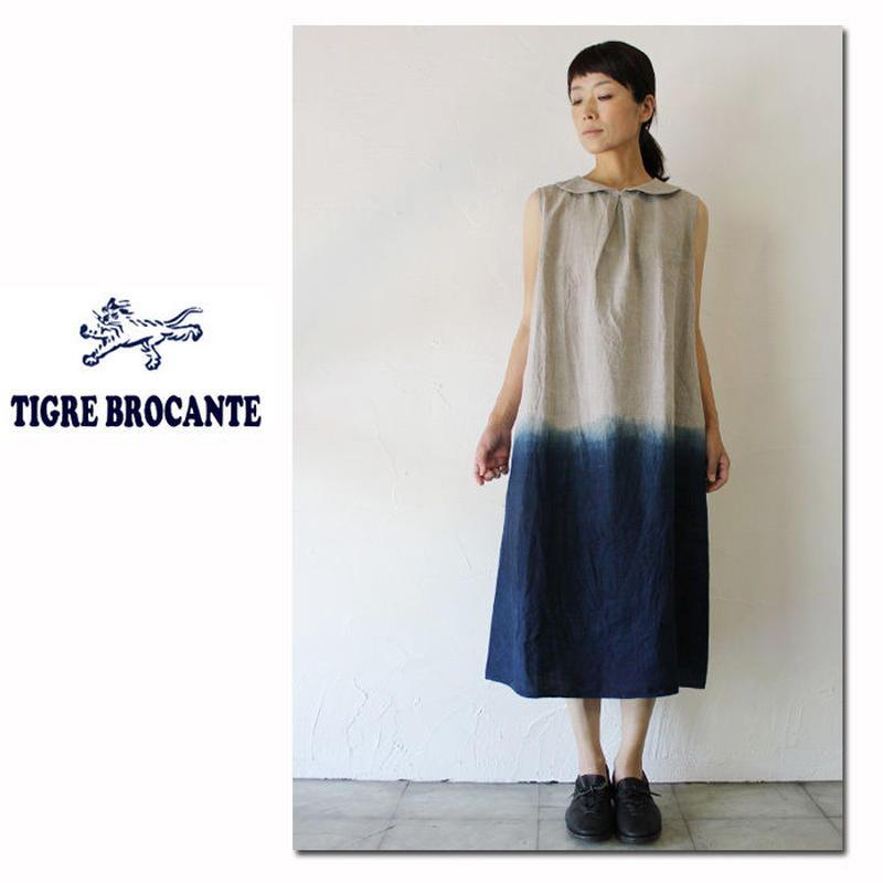 **7/8  再入荷**Tigre Brocante ティグルブロカンテ 裾インディゴ絞り丸襟バックボタンワンピース ♯インディゴ 【送料無料】