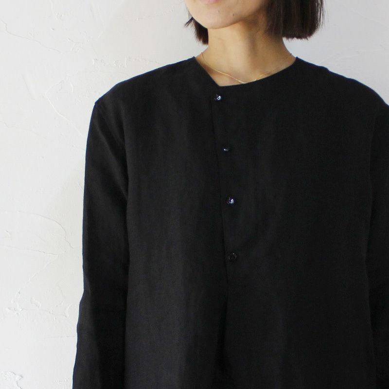 Everlasting Sprout エバーラスティングスプラウト ベルギーリネンのノーカラーシャツ ♯ホワイト、ブラック 【送料無料】