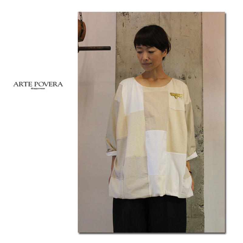 ARTE POVERA アルテポーヴェラ コットンMIXパッチワークボートT #キナリ 【送料無料】