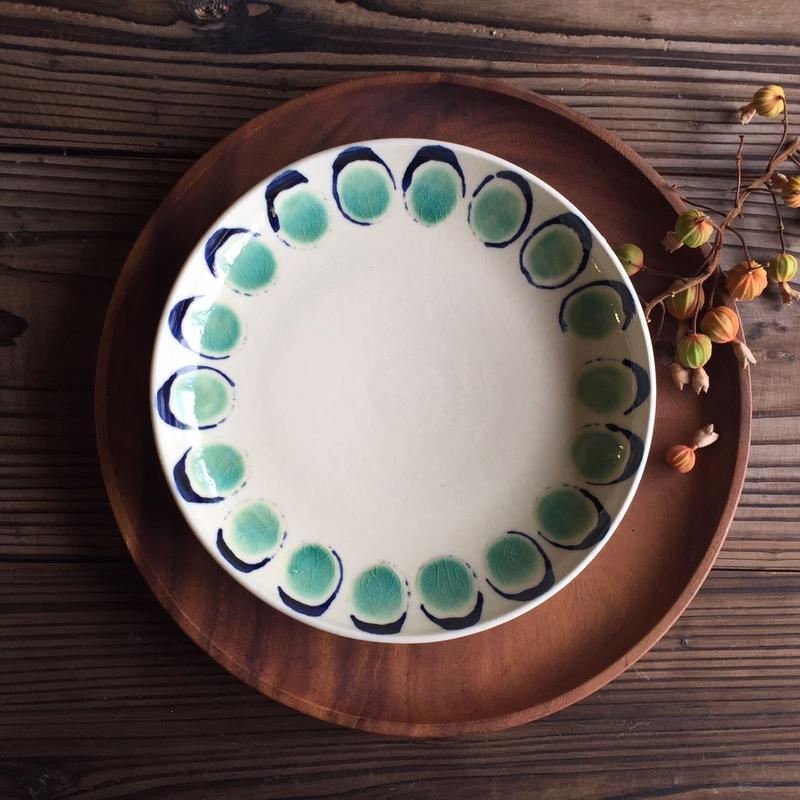 やちむん 平皿(7寸)/花弁(青緑)/宮城正幸