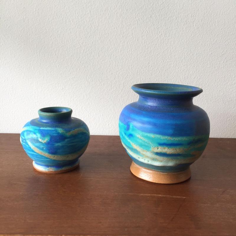 八重山陶磁 ペルシャ釉青壷/宮良ゆうな(アンパル陶房)