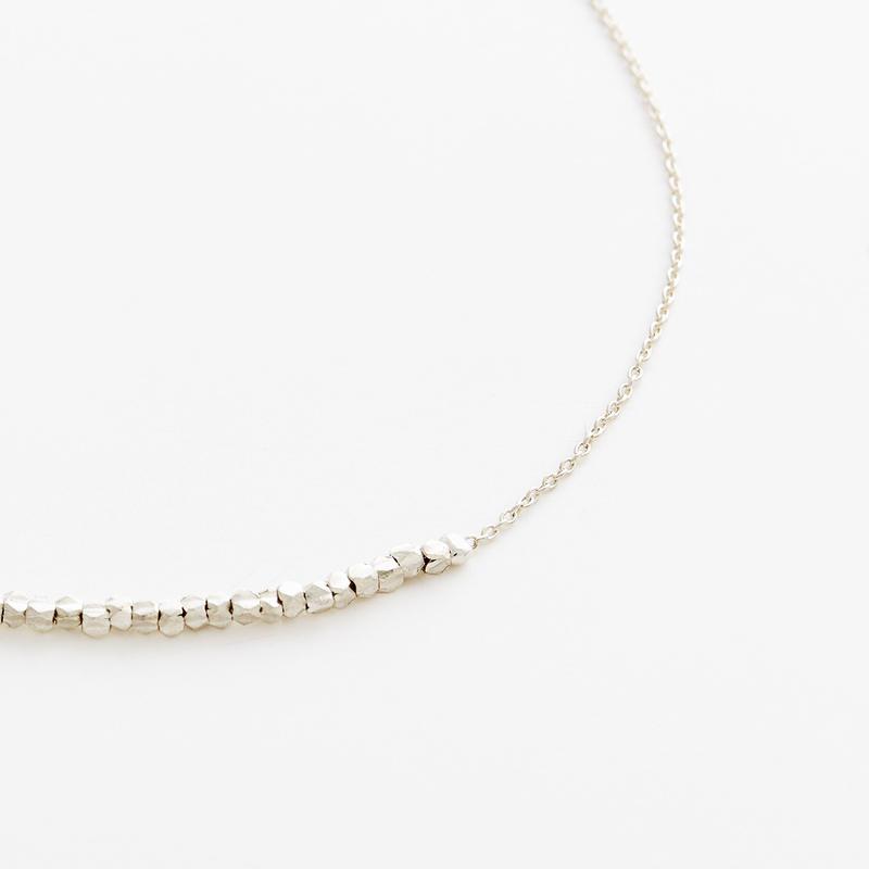 square beads bracelet 08B101 / silver