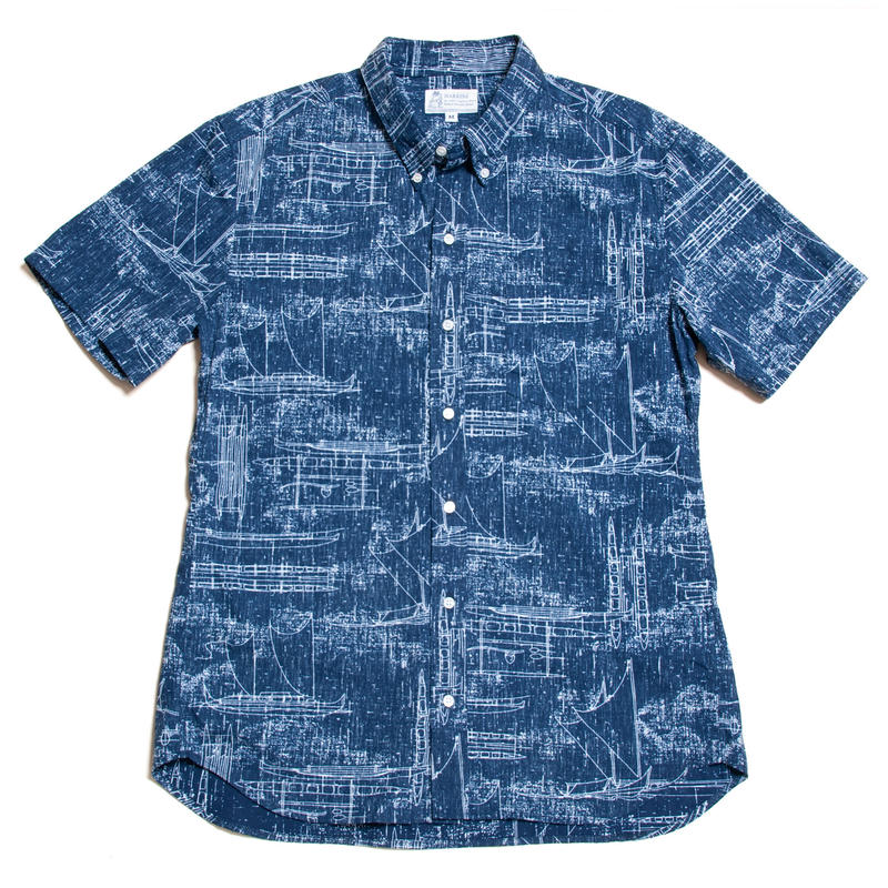 Men's Hawaiian Button Down Shirts - Hawaii Canoe Navy