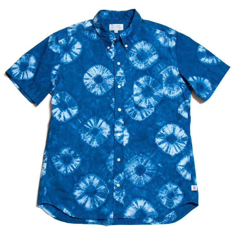 """Men's Hawaiian Button Down Shirts - Shibori Indigo """"Blue"""""""