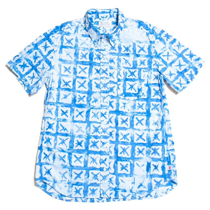 "Men's Hawaiian Button Down Shirts - Shibori Indigo ""X"""