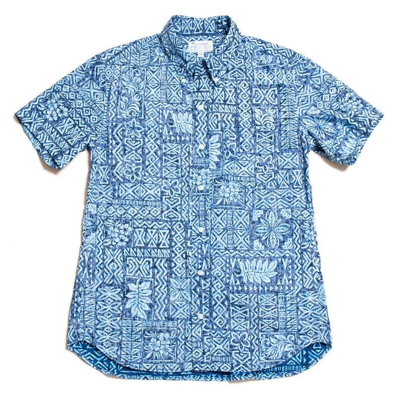 Men's Hawaiian Button Down Shirts - Kapa Blue