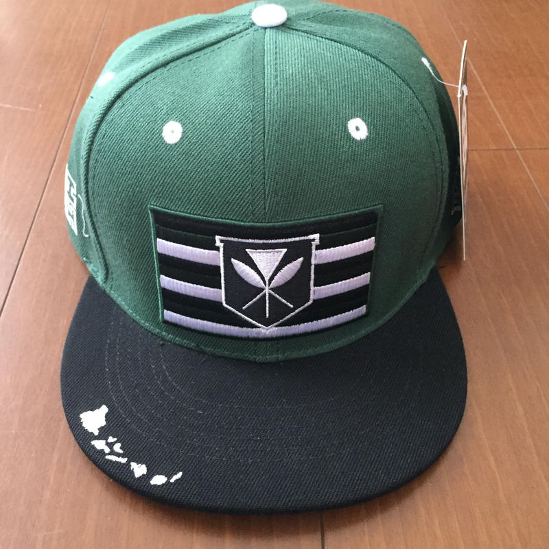 "HAWAII'S FINEST ""KANAKA FLAG"" SNAP BACK HAT  GREEN"