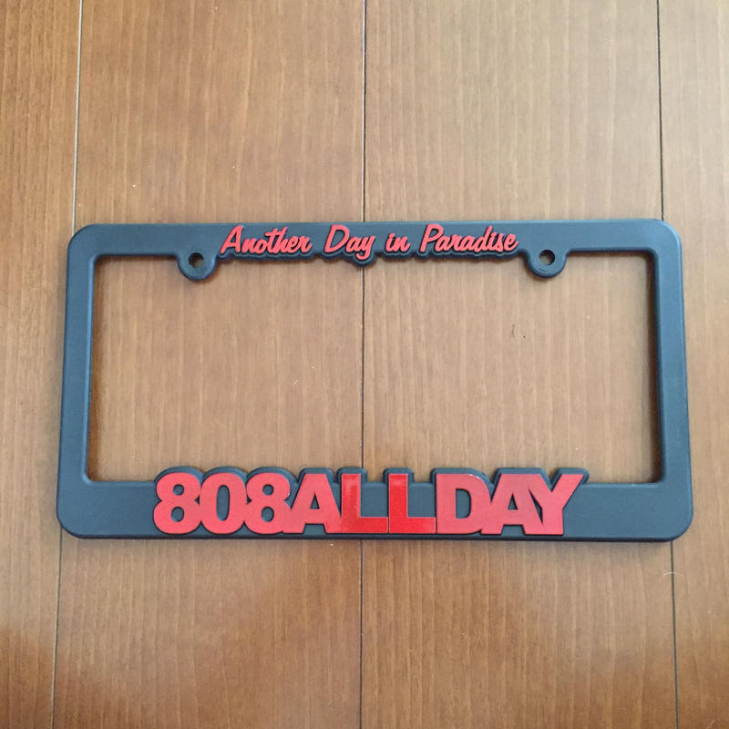"808ALLDAY ""LOGO"" License Flames RED"
