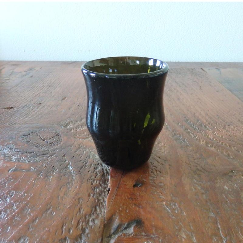 吹きガラス工房 彩砂 くびれグラス大 オリーブ