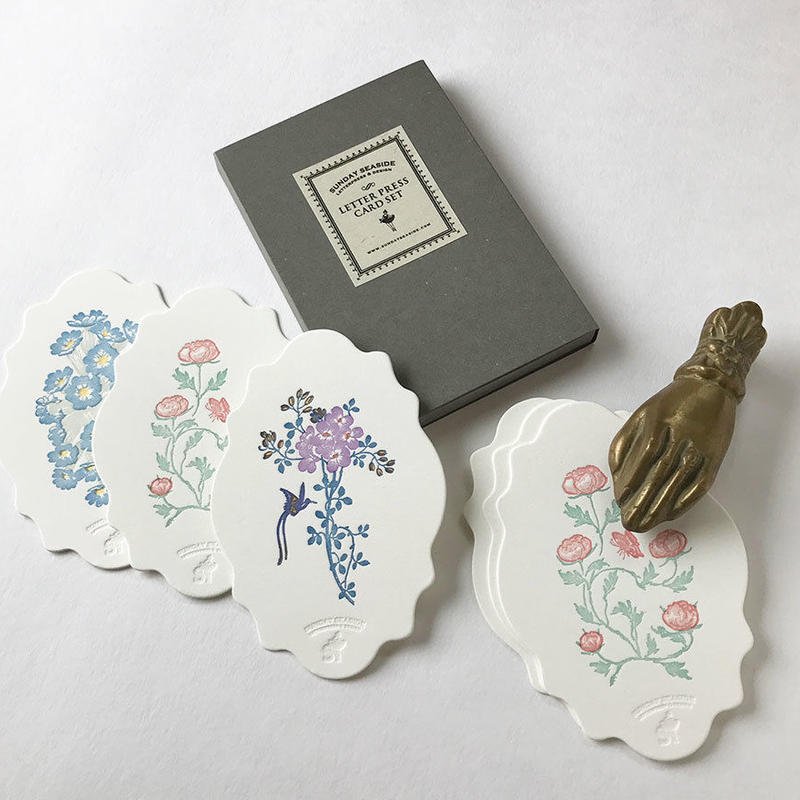 "Letterpress Card BOX Set ""花鳥風月""雲形"