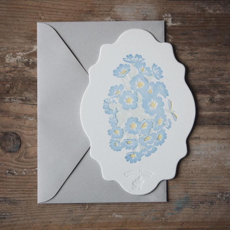 """Letterpress Card """"花鳥風月/蜻蛉 雲形"""