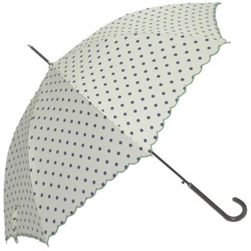 水玉プリント スカラー刺繍 傘(雨晴)