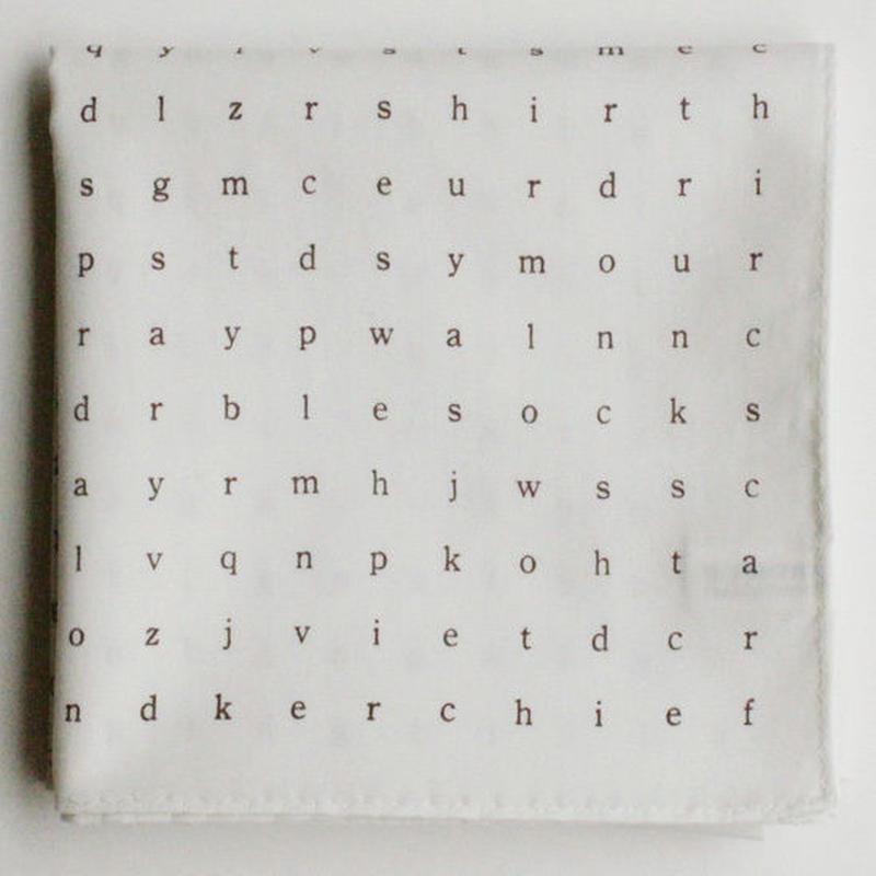 活版印刷 文字ハンカチ/ホワイト&ブルー