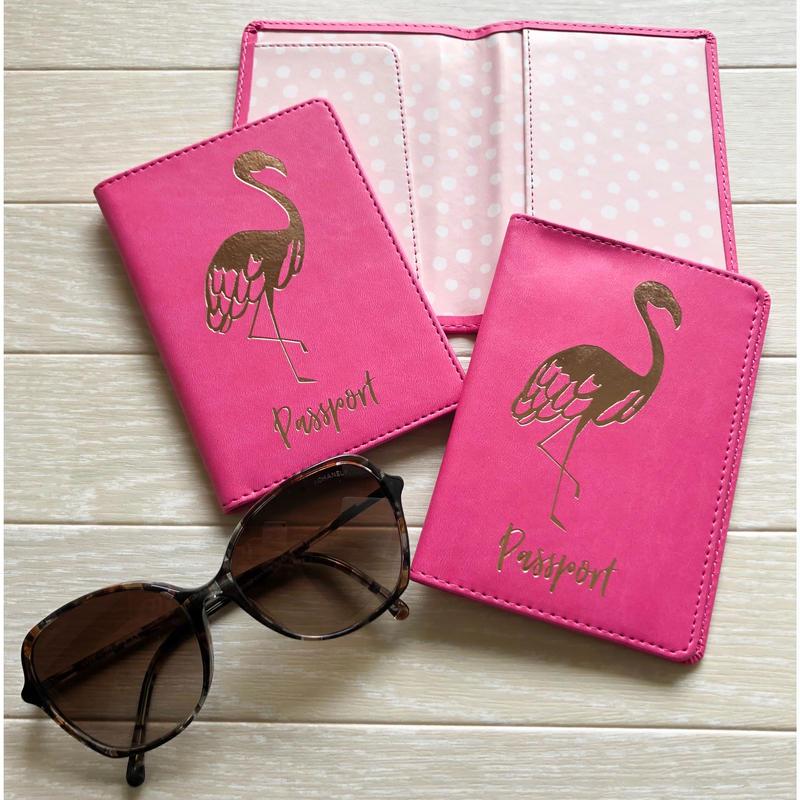 フラミンゴ柄 パスポートケース
