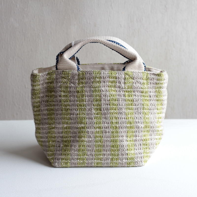 Gara-bou × Canvas Small Tote (Lime Stripe)