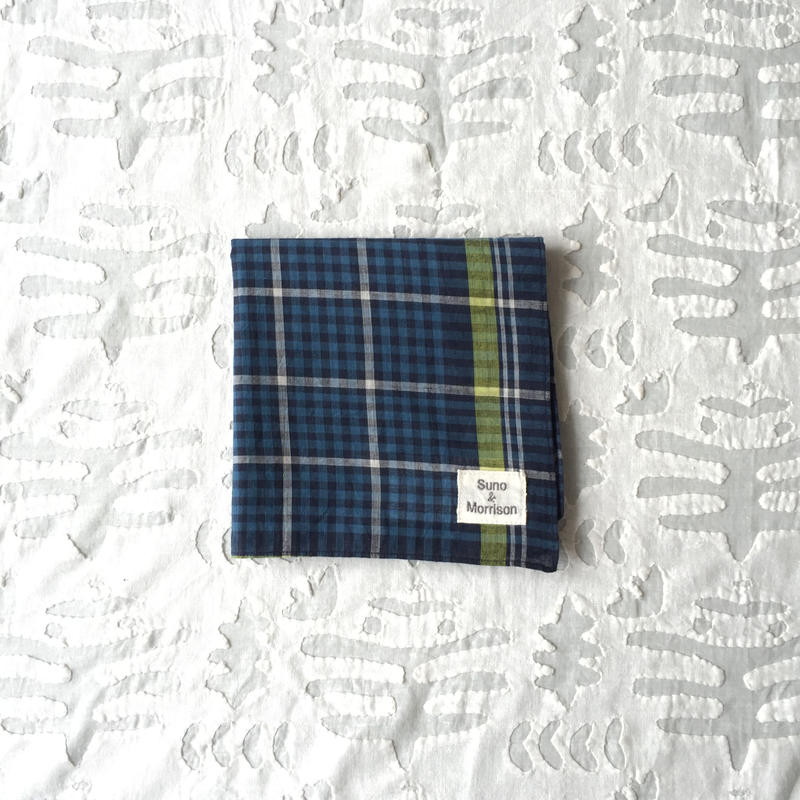 #100 Khadi Panel Plaid Bandana (Blue)