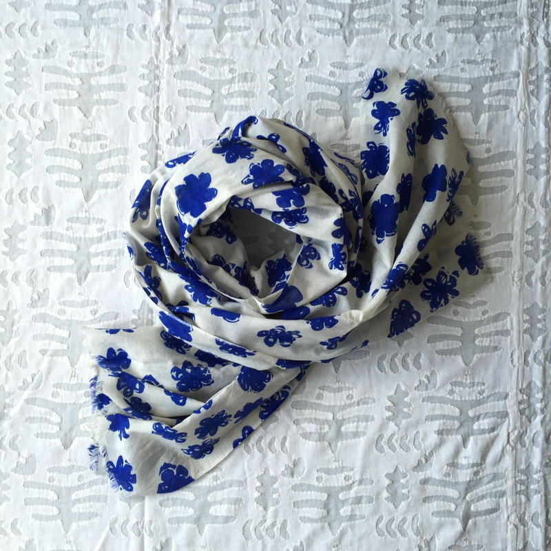 #150 Khadi Badala Flower Print Big Stole 110×180 (Blue)