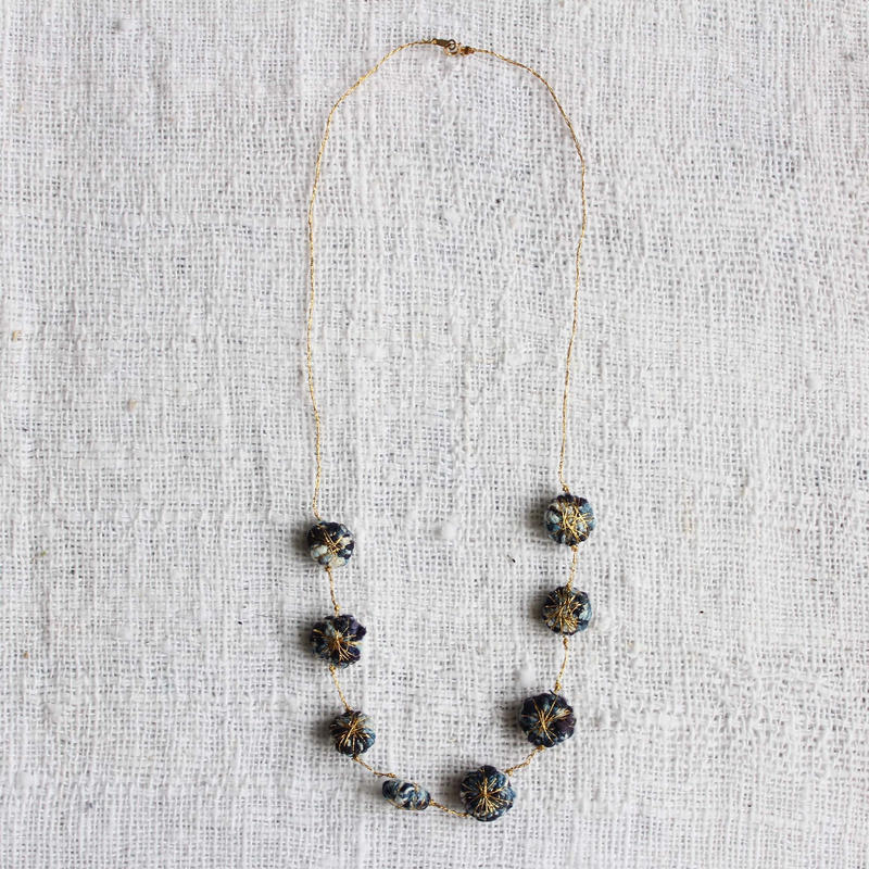 Cotton Daisy Necklace (Dark Indigo)