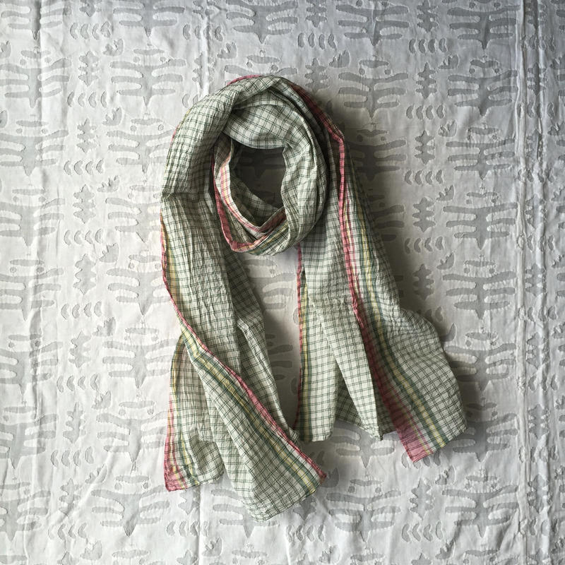 #100 Khadi Panel Plaid Stole (Green)
