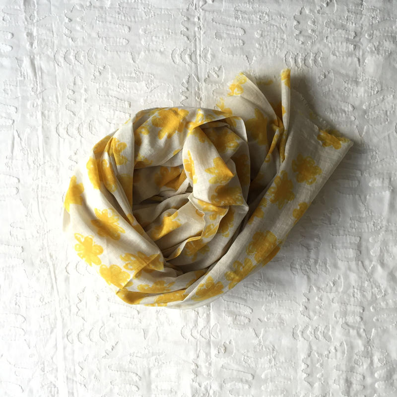 #150 Khadi Badala Flower Print Big Stole 110×180 (Yellow)