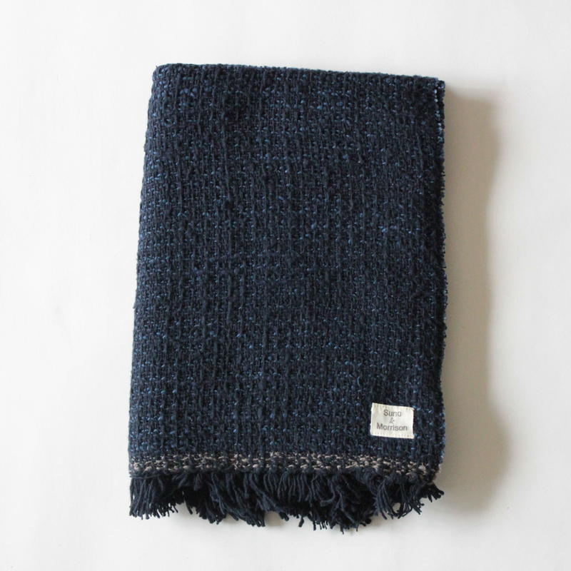 Gara-bou Medium Stole WS 50×190cm (Dark Indigo Pin Border)