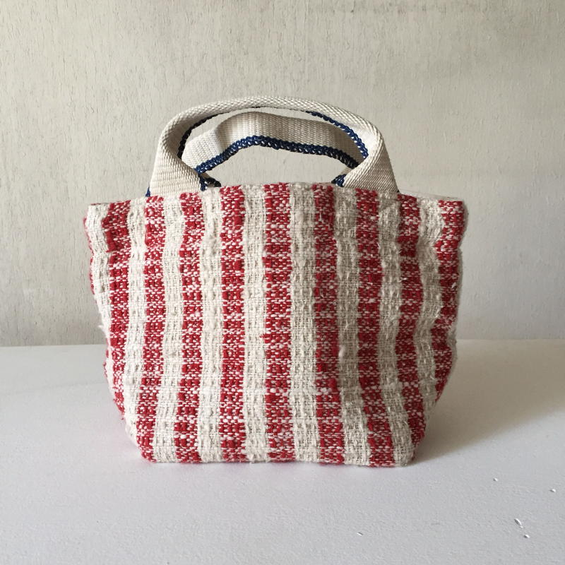 Gara-bou × Canvas Small Tote (Carmine Stripe)