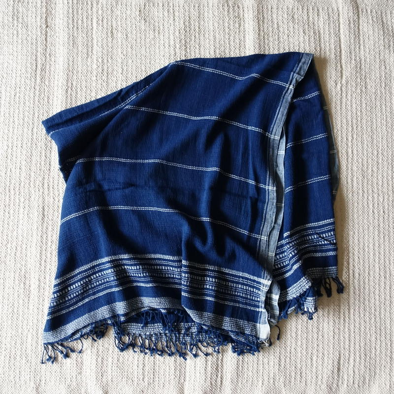 Organic Khadi Basket Throw L 150×x240 (Indigo)