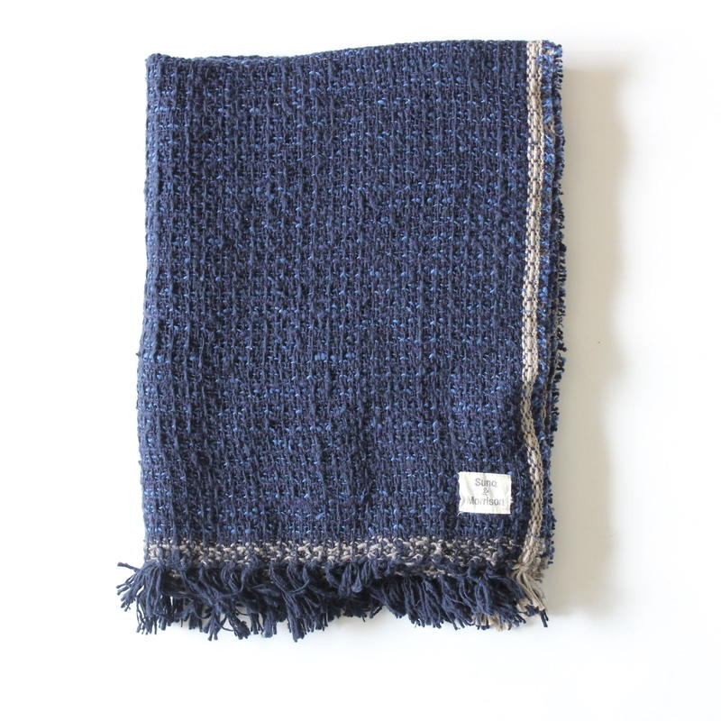 Gara-bou Medium Stole 50×190cm (Dark Indigo Pin Border)