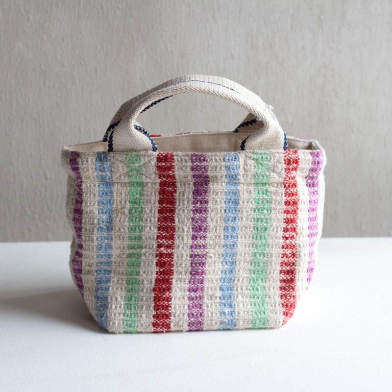 Gara-bou × Canvas Small Tote (Rainbow Stripe)