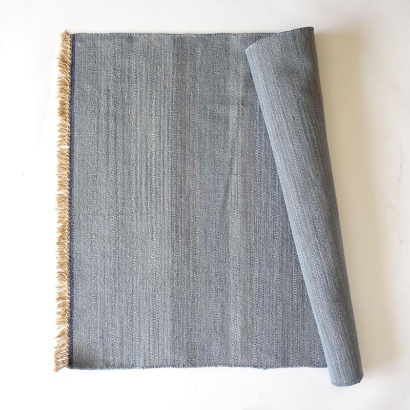 Light Indigo Wool Rug 100x140