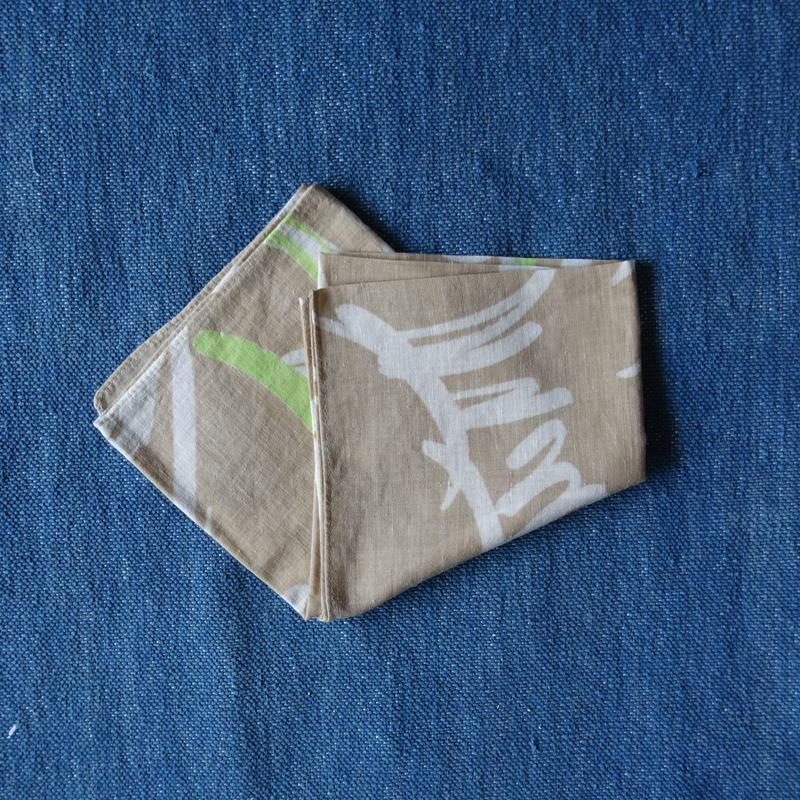 #150 Khadi Leaf Print Bandana (Beige)