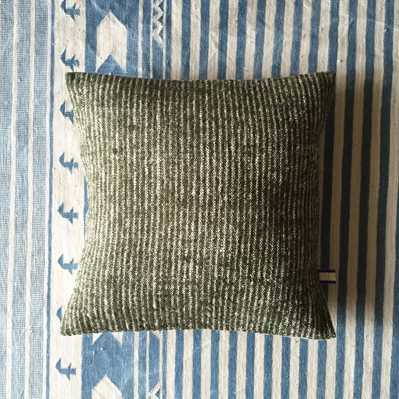 Gara-bou × Khadi Cushion Cover (Olive)