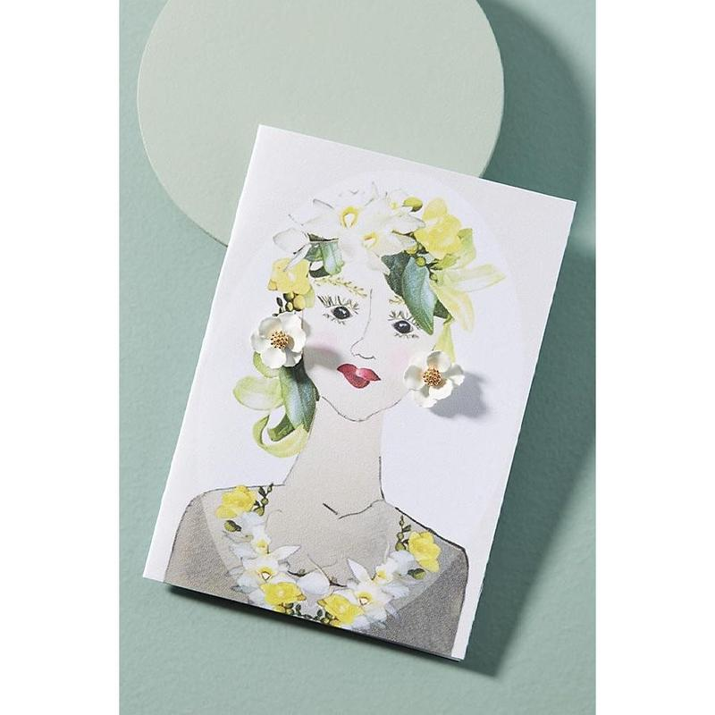 Garden Girl Earrings & Postcard White