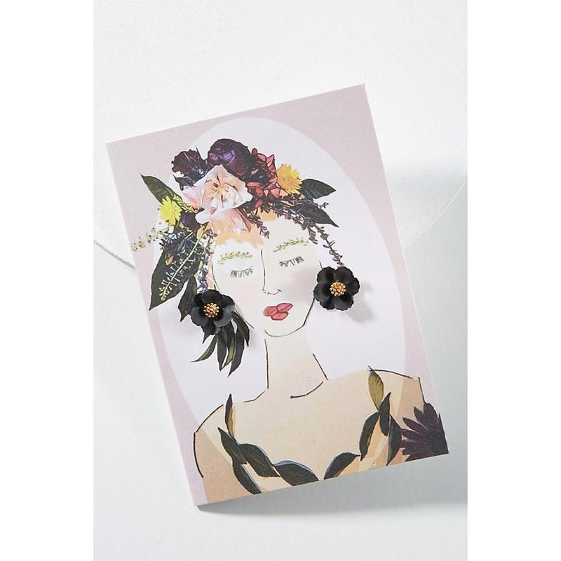 Garden Girl Earrings & Postcard Black