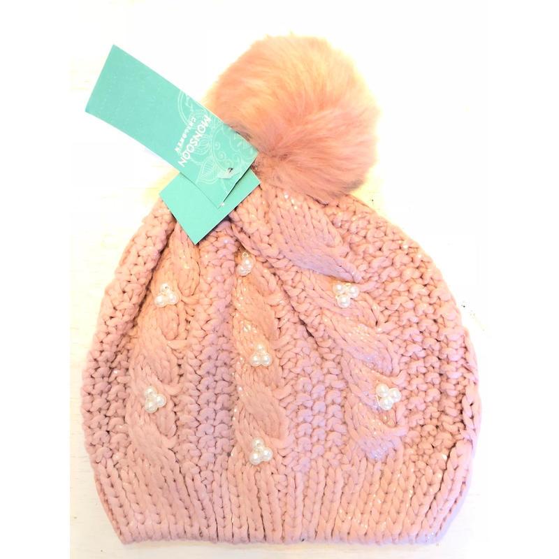 キッズ、ガールズニット帽 ピンク&パール