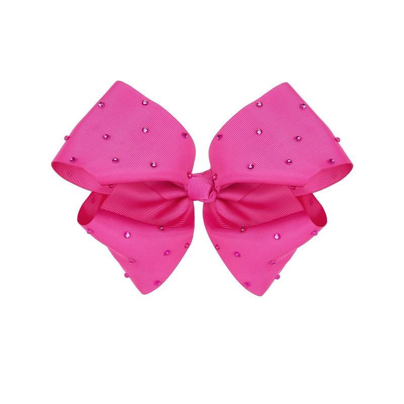 Pink Diamante Big ribbon Clip
