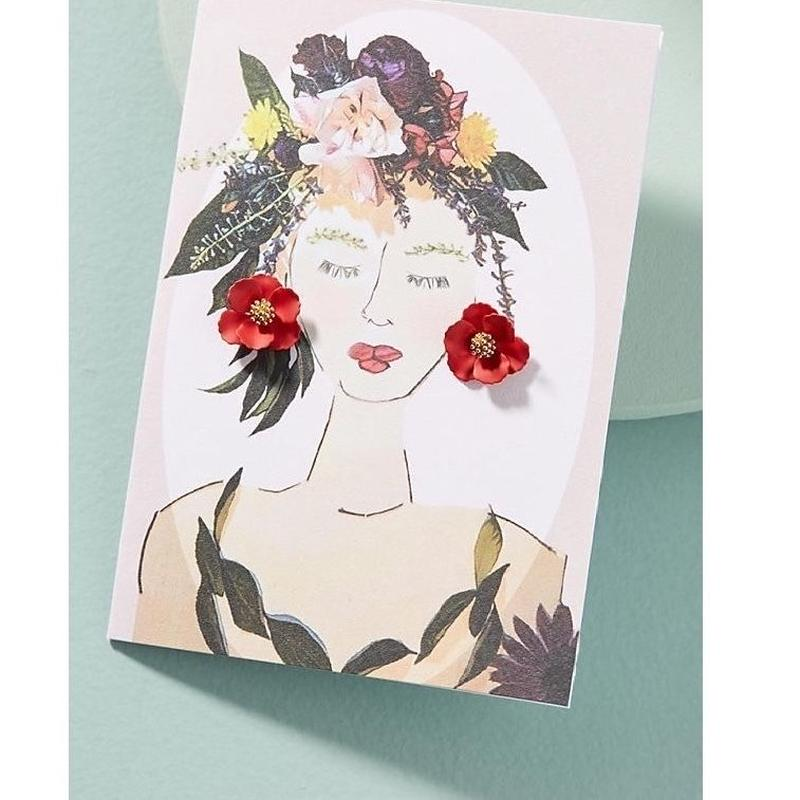 Garden Girl Earrings & Postcard red