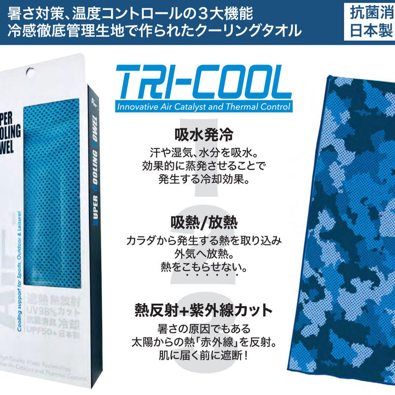 SUPER COOLING TOWEL Air. スーパークーリングタオル エアー 業界初! 高冷却機能タオルー吸水発冷+吸熱放熱+遮熱ー日本製 新発売【2枚セット】